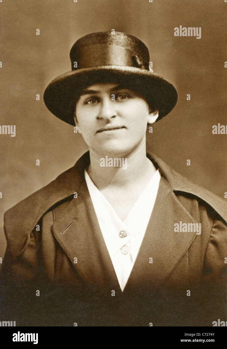The photo, which dates to around 1915, shows a woman in New Bedford, Massachusetts. - Stock Image