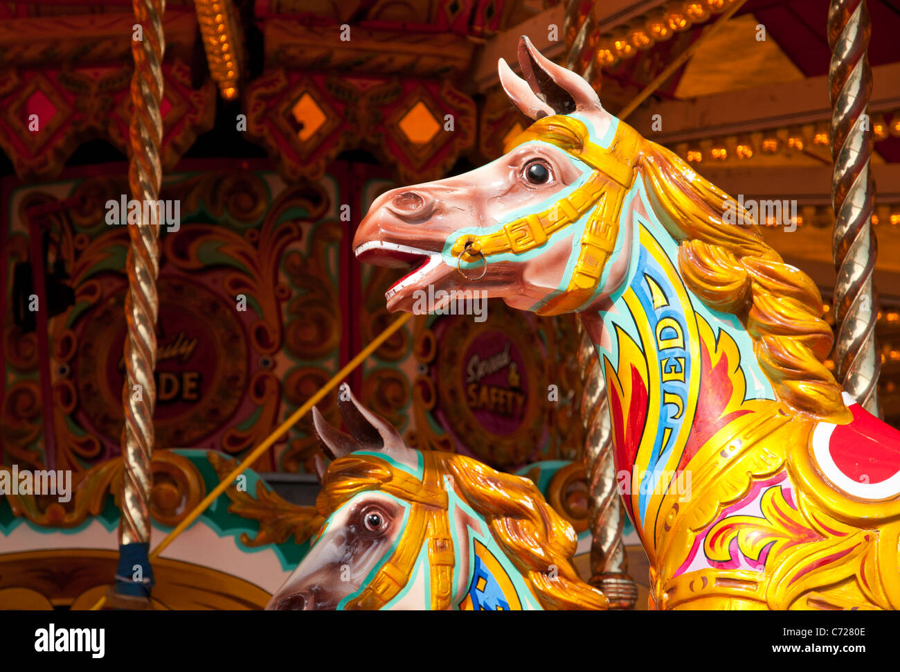 Painted Wooden Horses On A Merry Go Round Devon UK