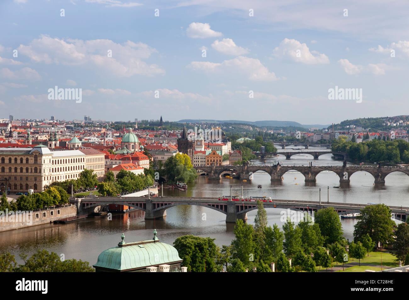View of the River Vltava and bridges, Prague, Czech Republic - Stock Image