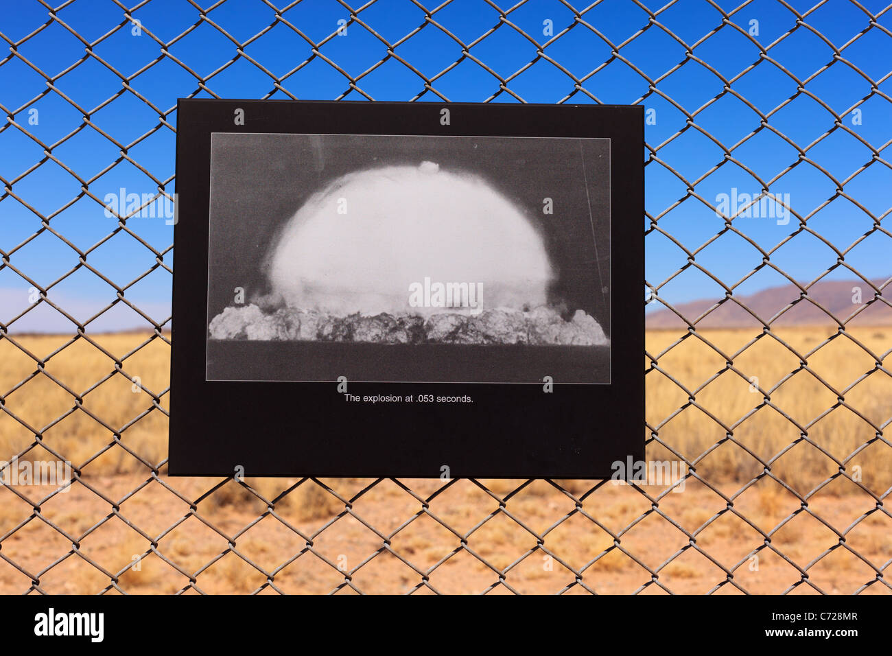 A photograph on display at Trinity Site in New Mexico showing the world's first nuclear device being exploded - Stock Image