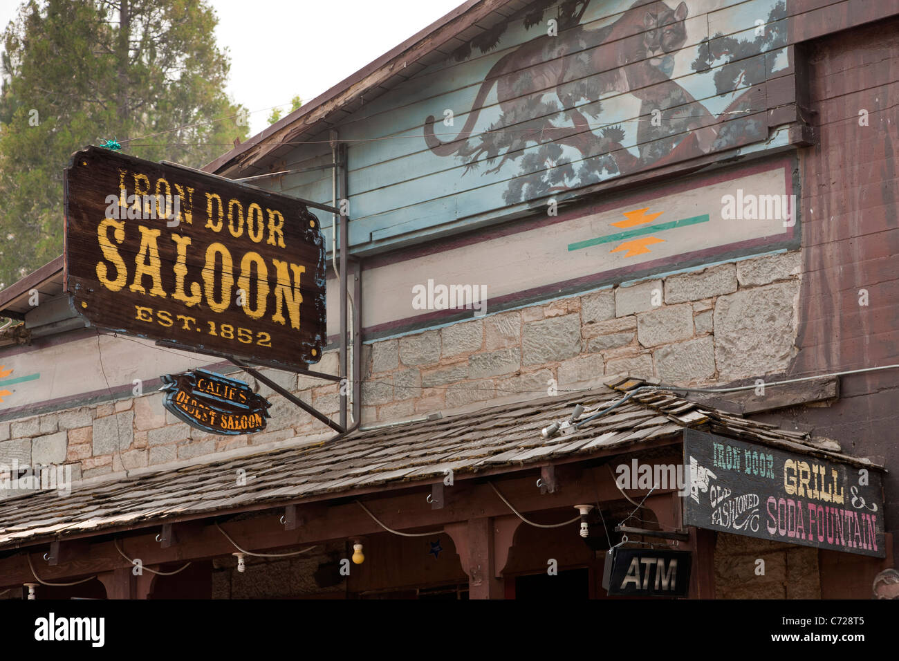 Iron Door Saloon 1852 in Groveland, a pioneer gold rush town on Route 120 near  Yosemite National Park, California, - Stock Image