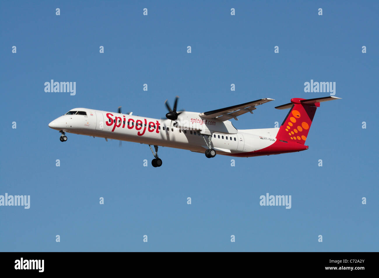 Bombardier Q400 short haul regional airliner belonging to the Indian low-cost airline SpiceJet - Stock Image
