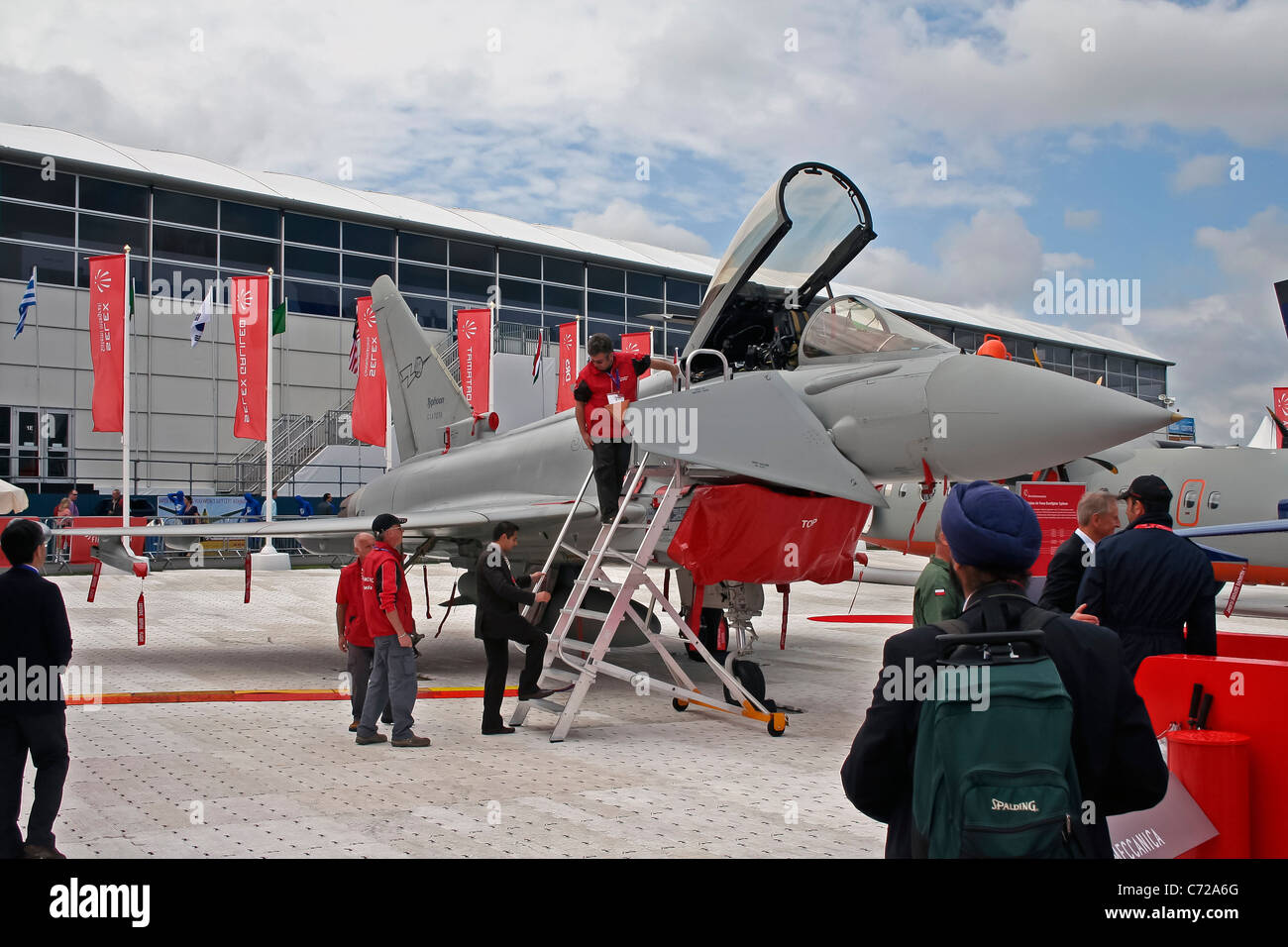 Display by the BAE Systems Eurofighter Typhoon at the Farnborough International Airshow - Stock Image