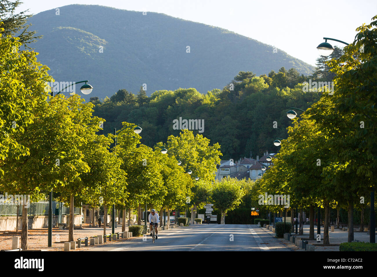 The Allée des Promenades in Dieulefit in south Drome, France. - Stock Image
