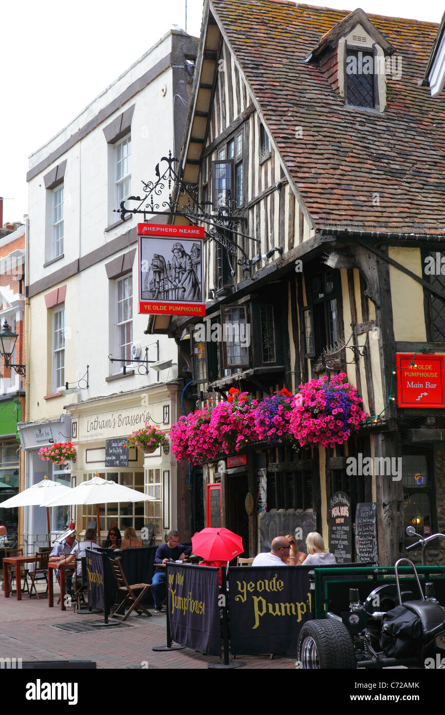 Hastings UK. Pubs and Cafés in George Street in the Old Town, East Sussex, England, UK, GB - Stock Image