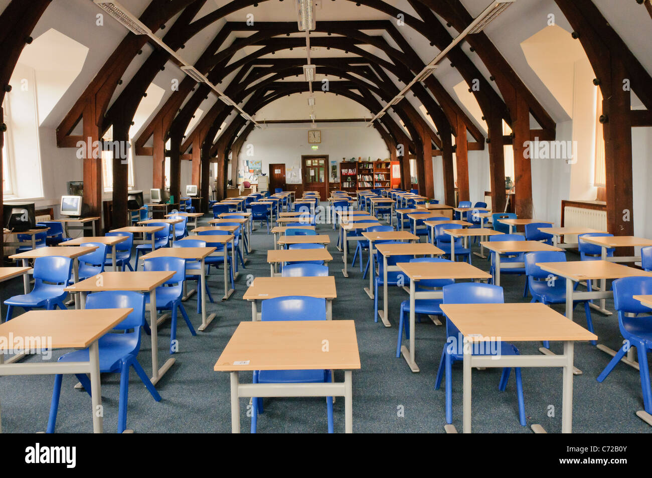 Large School Classroom With Desks And Chairs In Campbell College