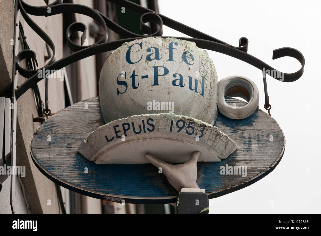 Canada,Quebec,Montreal,cafe sign, Cafe St-Paul since 1953 - Stock Image