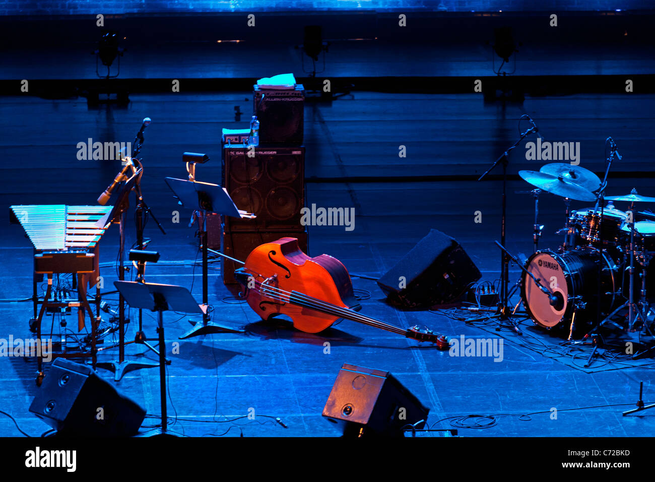 Canada,Quebec,Montreal, Montreal Jazz Festival, stage with musical instruments - Stock Image