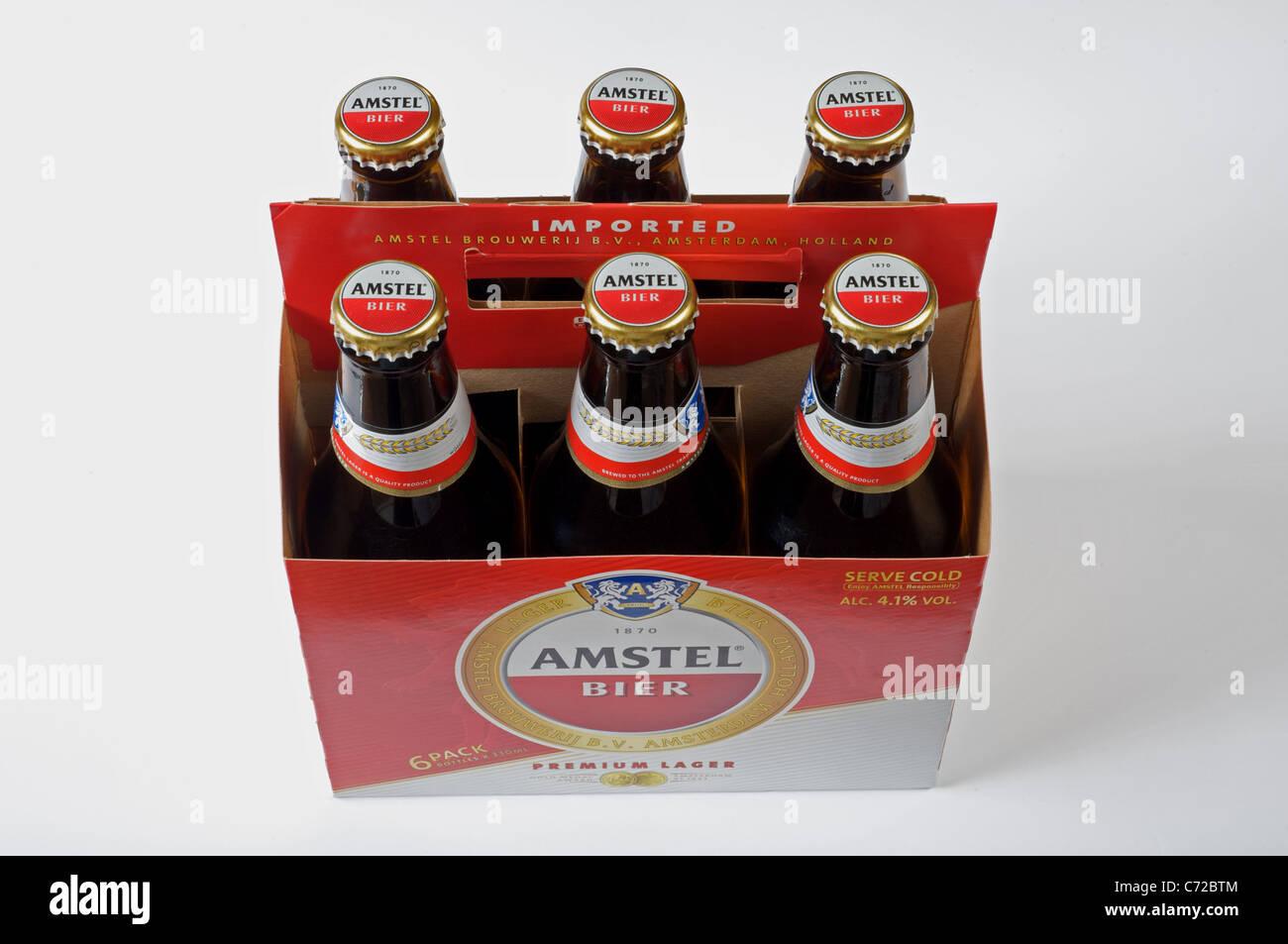 Amstel beer six-pack - Stock Image