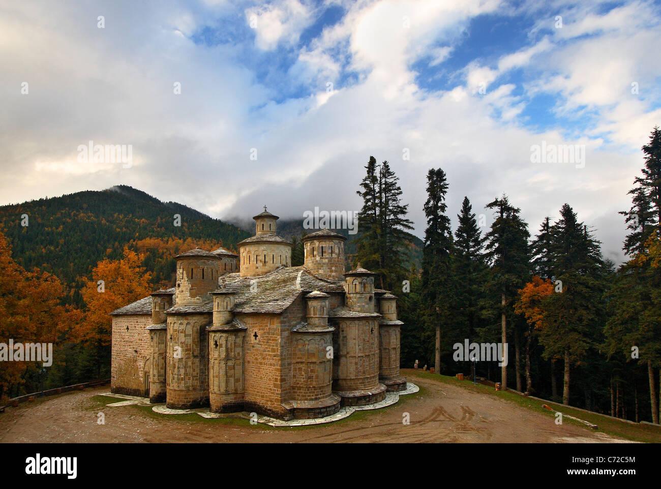 Doliana (or 'Dolianon') monastery in Aspropotamos region, Trikala Prefecture, Thessaly, Greece - Stock Image