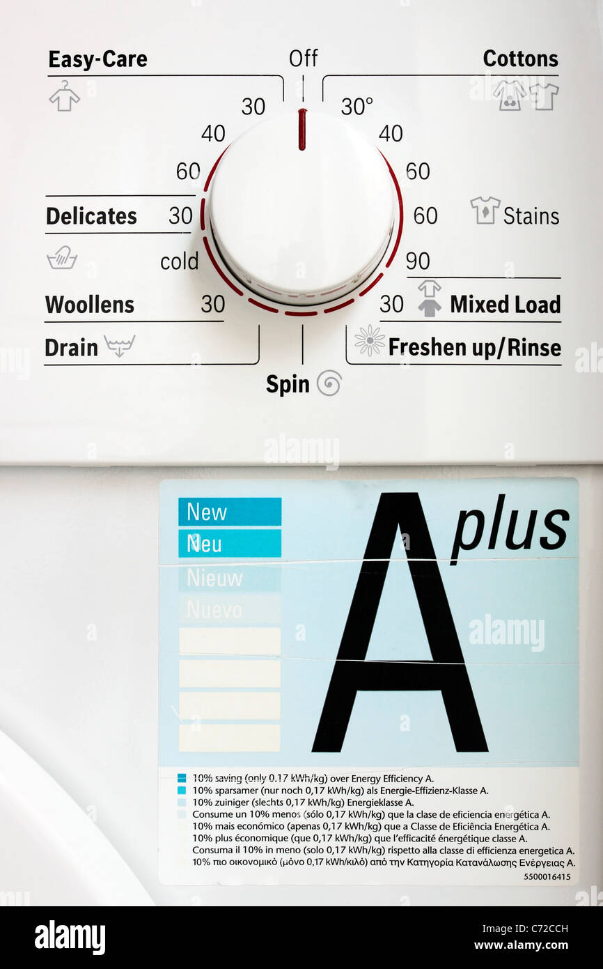 A plus Energy Rated Washing Machine Programme Dial - Stock Image