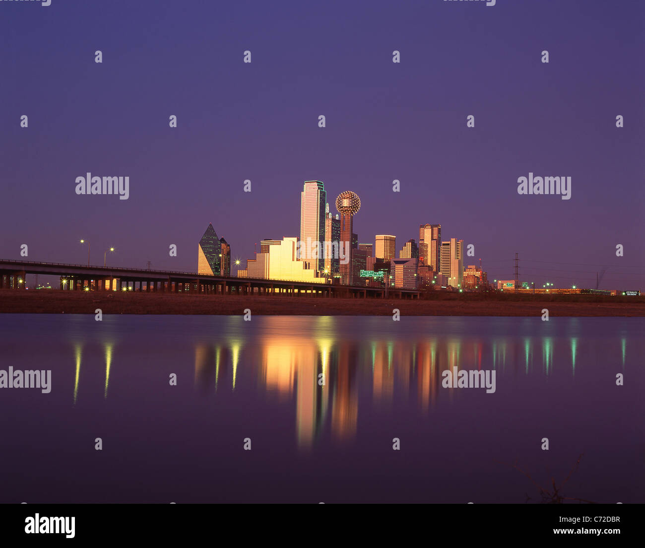 City at dusk, Dallas, Texas, United States of America - Stock Image