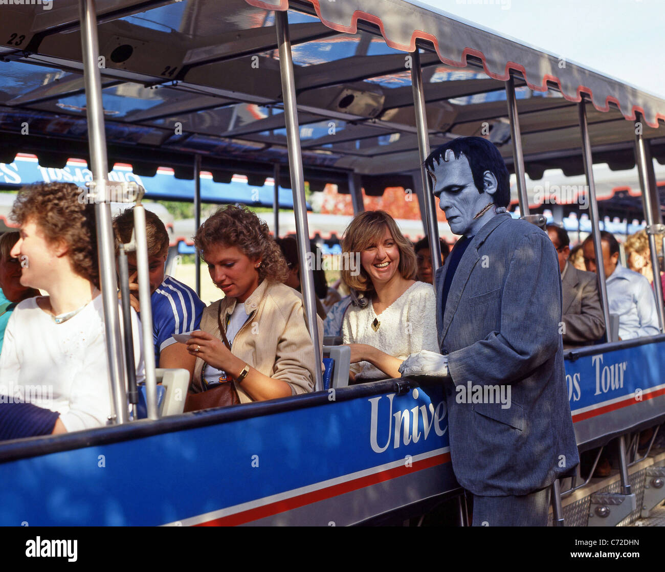 Tour train with Herman Munster, Universal Studios, Universal City, Los Angeles, California, United States of America - Stock Image