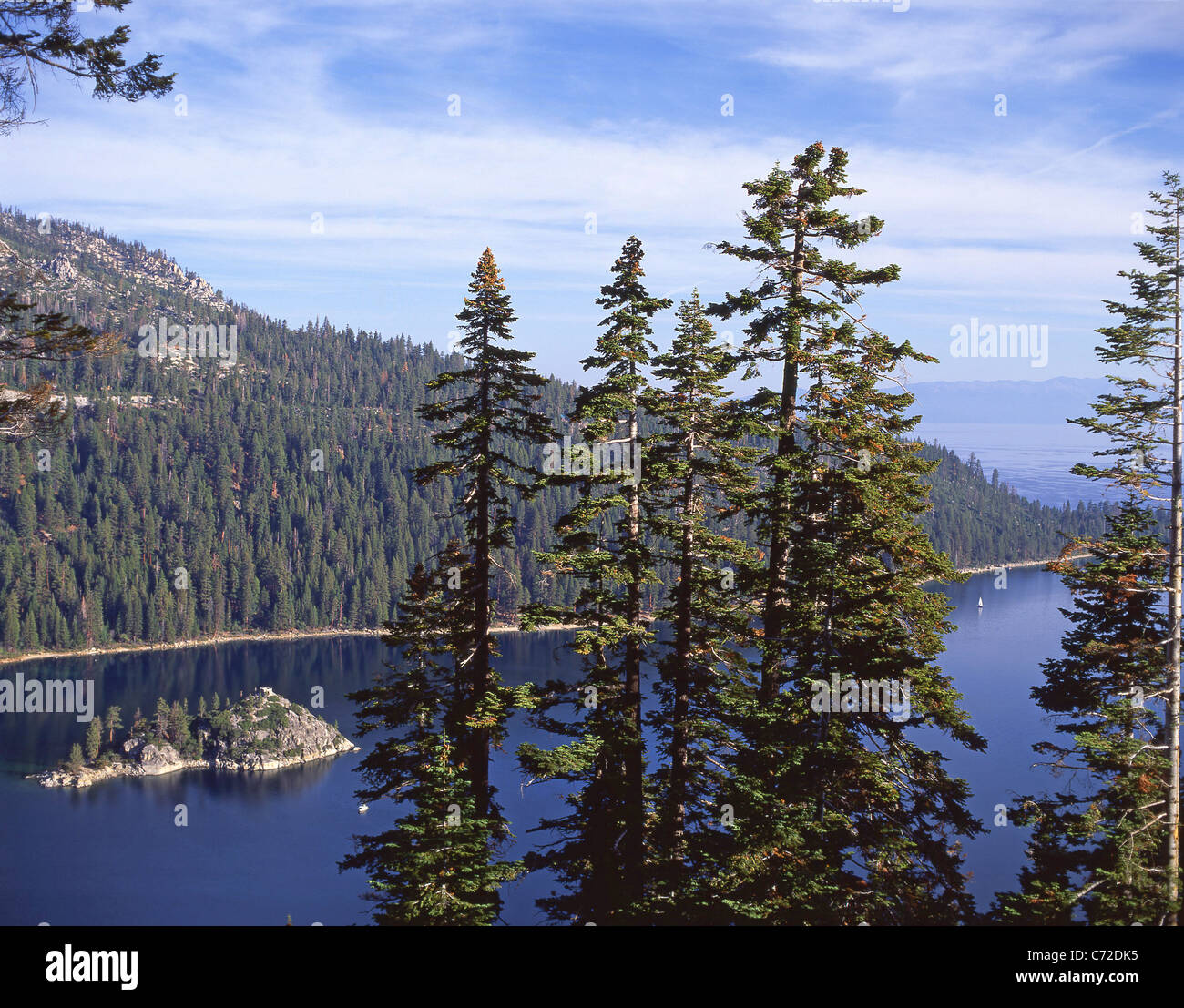 Emerald Bay showing Fannette Island, Lake Tahoe, Sierra Nevada, Nevada, United States of America Stock Photo