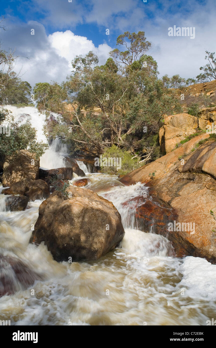 Waterfall and rapids in Sir John Forrest National Park. In the hills of the Darling Range, Perth, Western Australia. - Stock Image