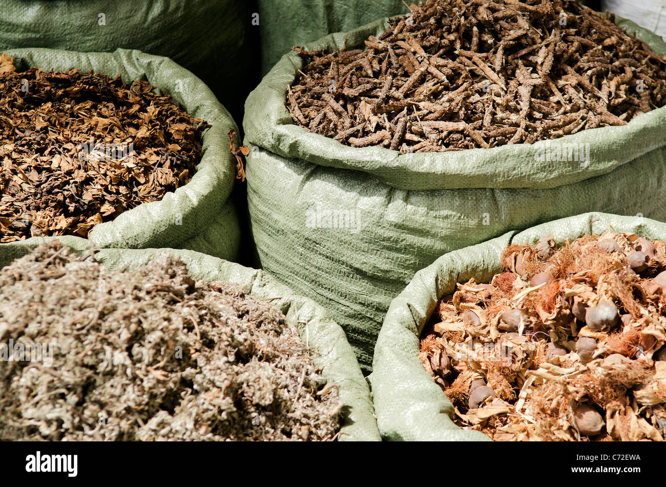 traditional herbs in vietnam market - Stock Image