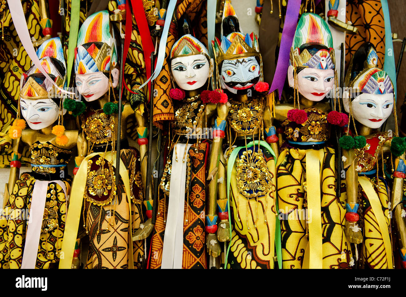 traditional wooden puppets in bali indonesia - Stock Image