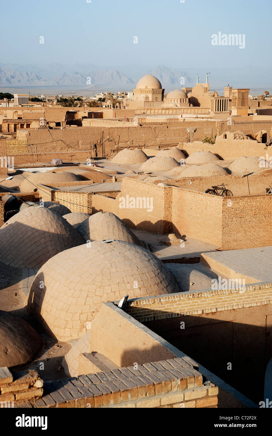 rooftops of yazd iran - Stock Image