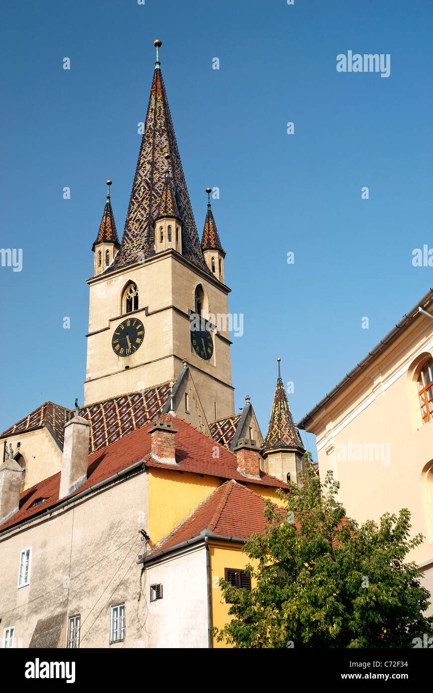 church spire in sighisoara romania - Stock Image