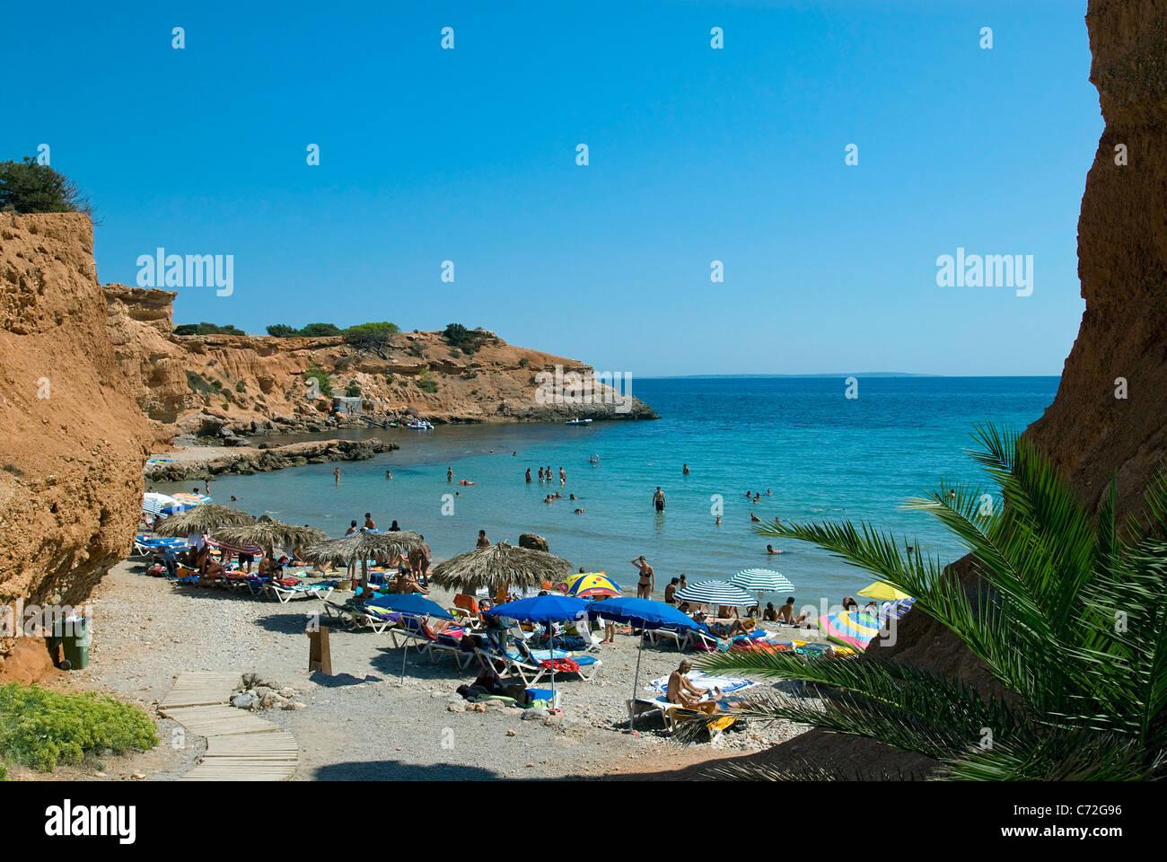 Beach at Sa Caleta, Ibiza, Balearics, Spain - Stock Image