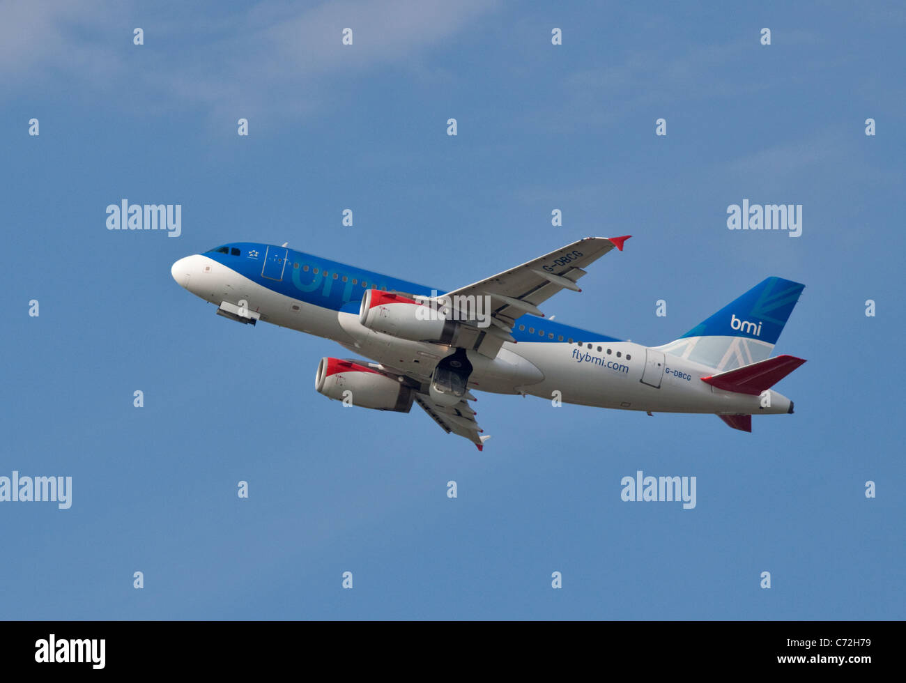 BMI British Midland Airbus A319, Gatwick Airport, West Sussex, England - Stock Image