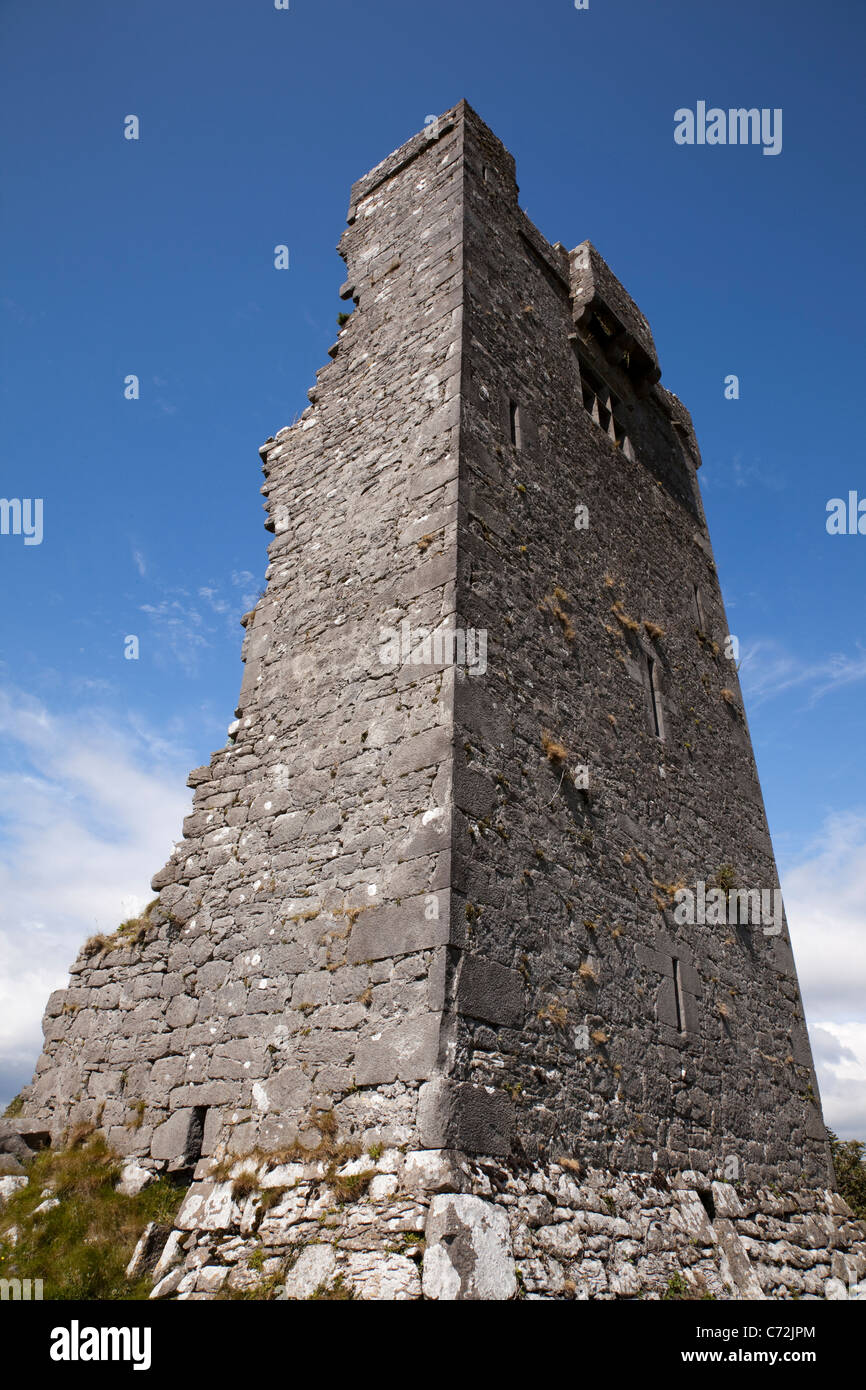 Shanmuckinish: a ruined tower, Muckinish West, near Ballyvaughan, County Clare, on the west coast of Ireland - Stock Image