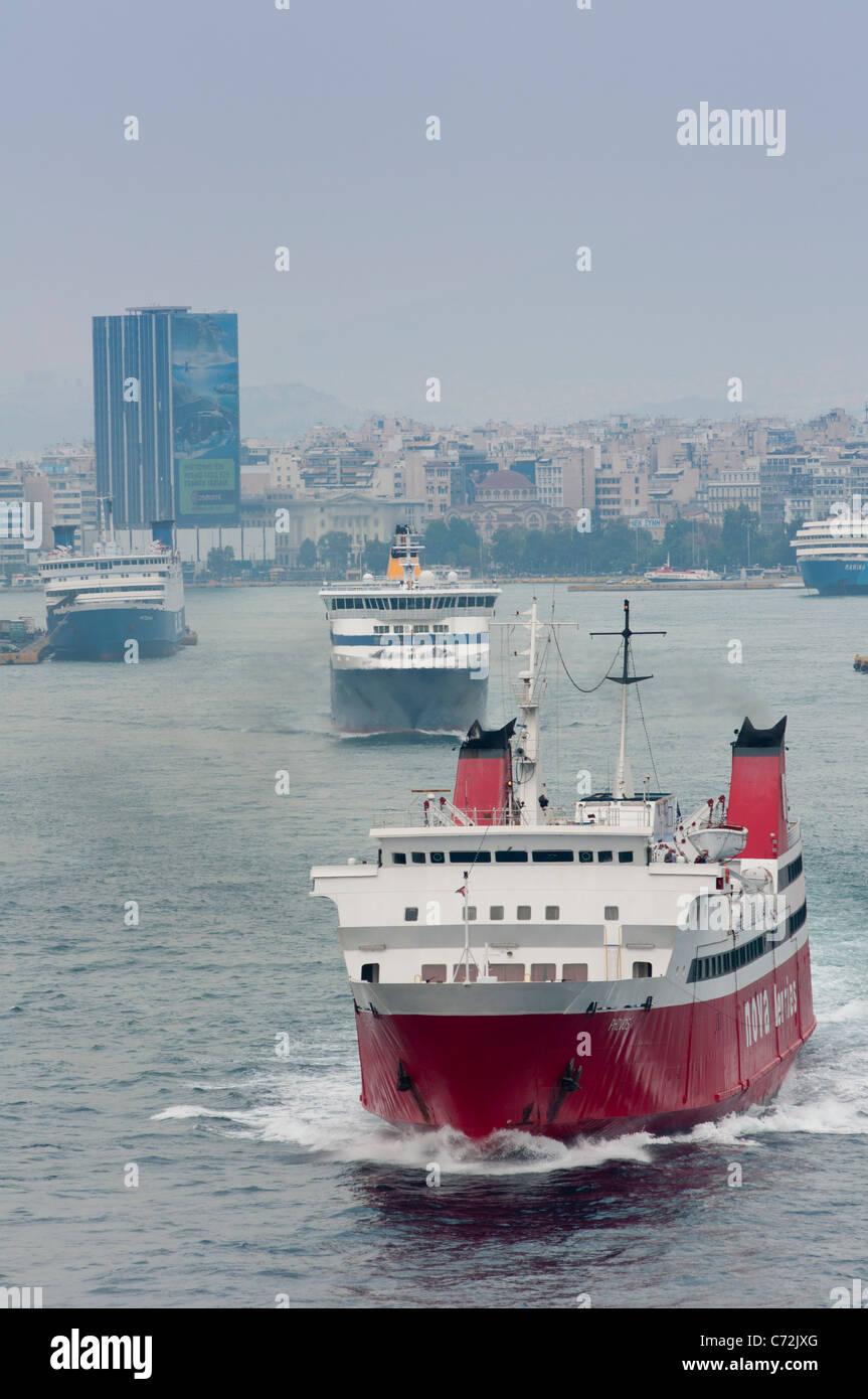 Ships leaving Piraeus, Athens, Greece. - Stock Image