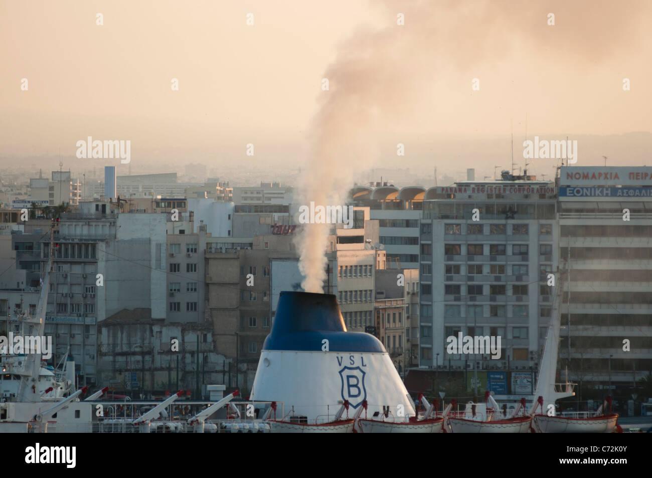Ship's funnel at Piraeus, Athens, Greece. - Stock Image