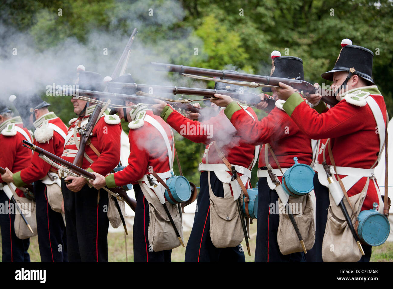 The 19th Regiment of Foot (re-enactors) at the Cromford Heritage Weekend, Derbyshire, England, UK - Stock Image