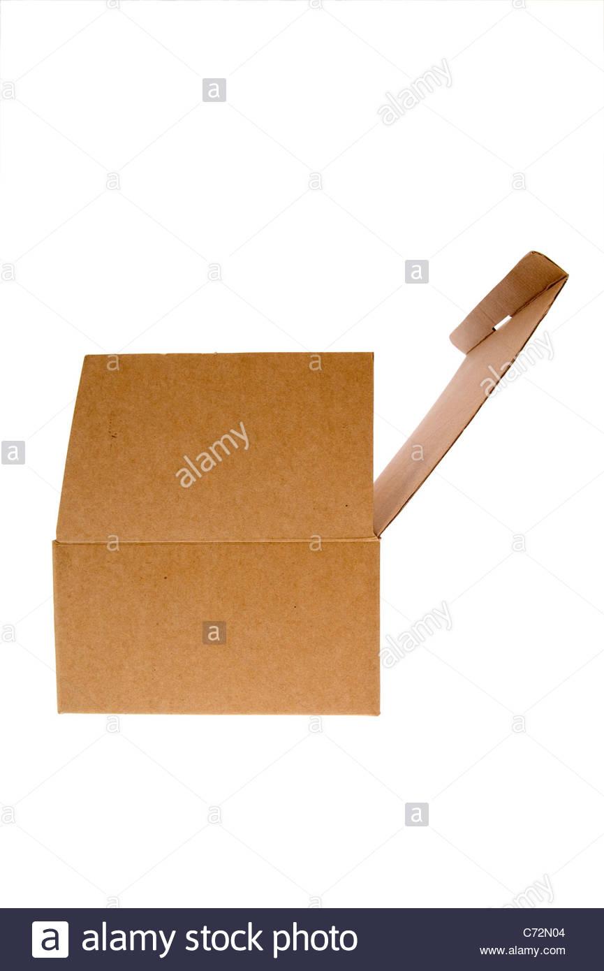cardboard box isolated on white background - Stock Image