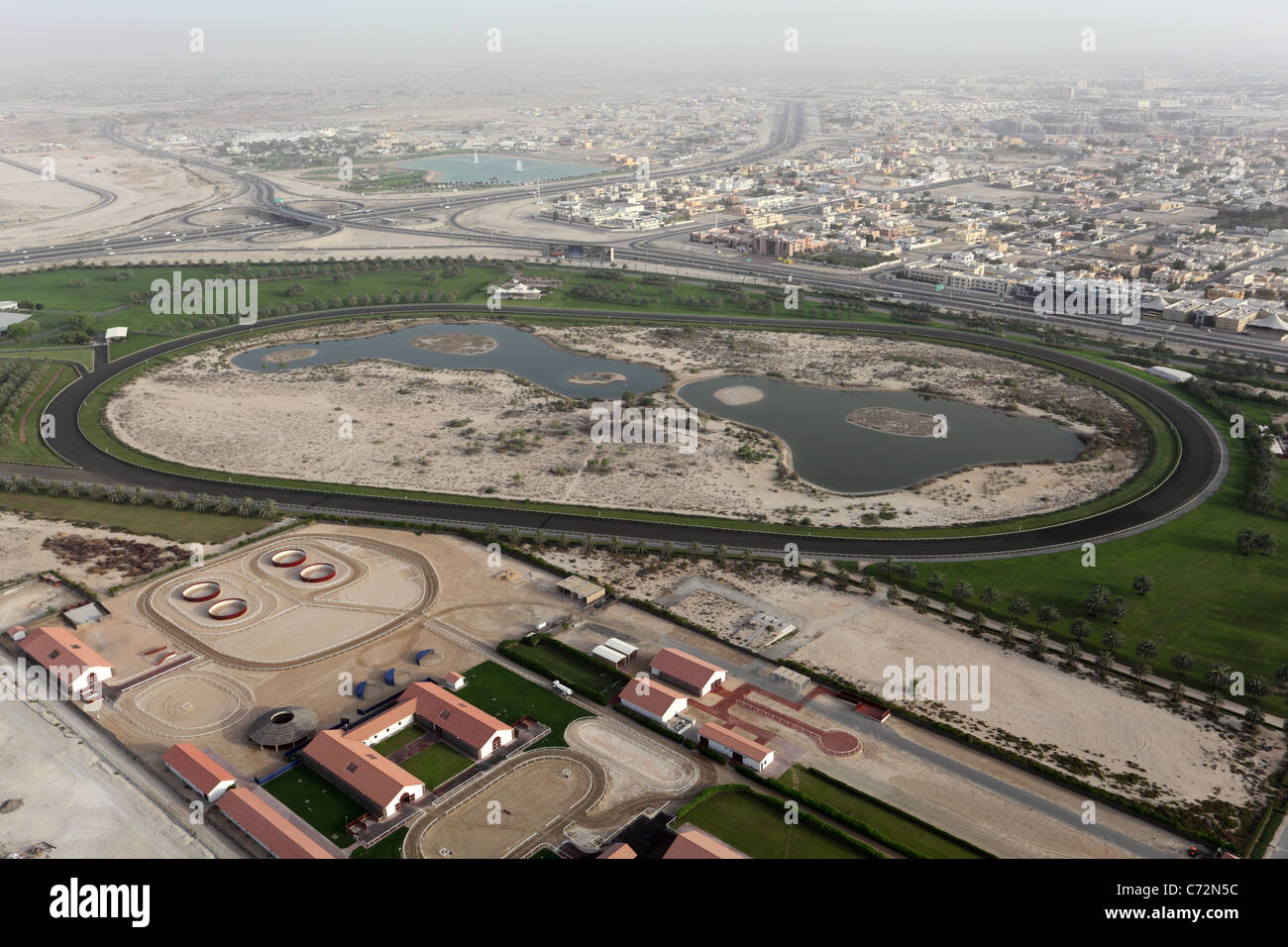Aerial view of a Horse Race Track in Dubai - Stock Image