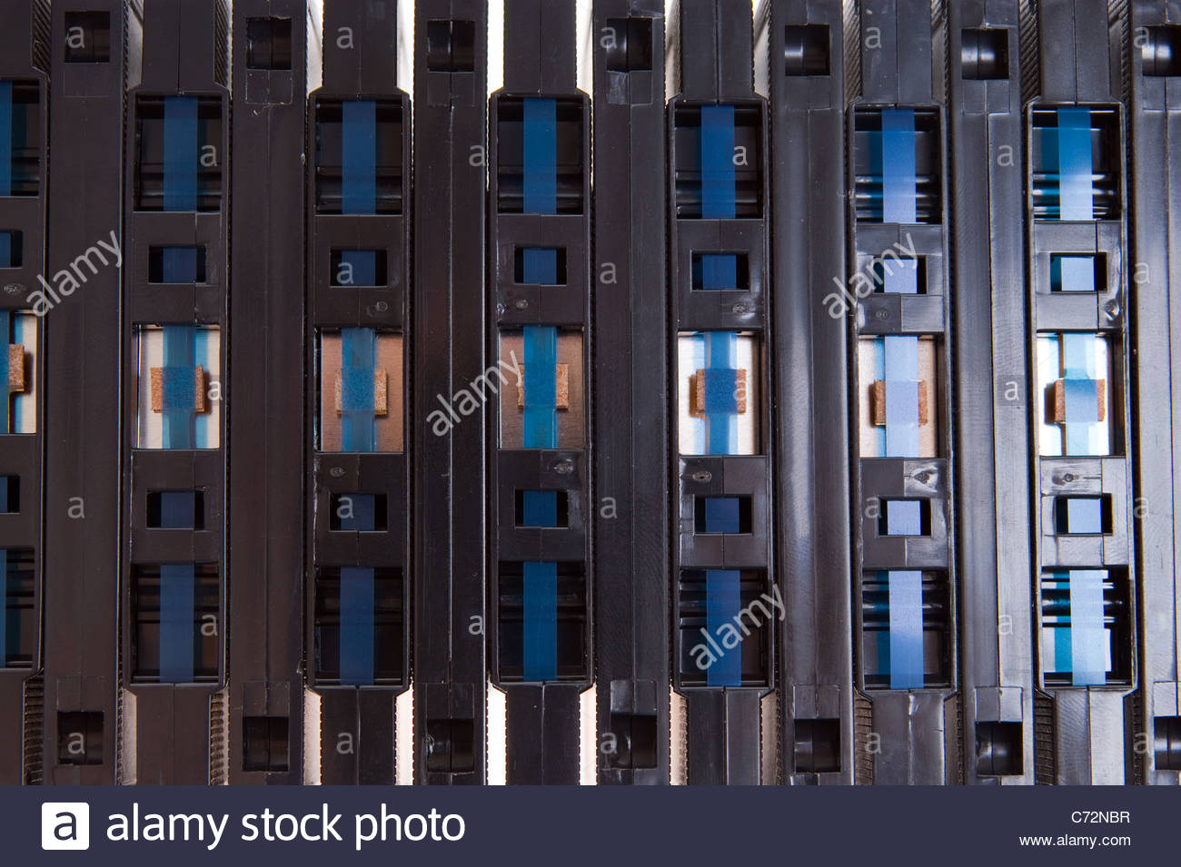 compact cassette. Stack of music tapes - Stock Image