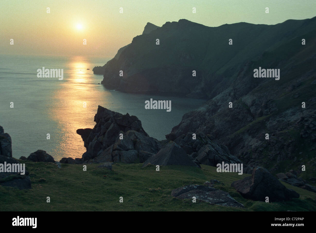 The island of Hirta in St Kilda, in the Outer Hebrides, Scotland. - Stock Image