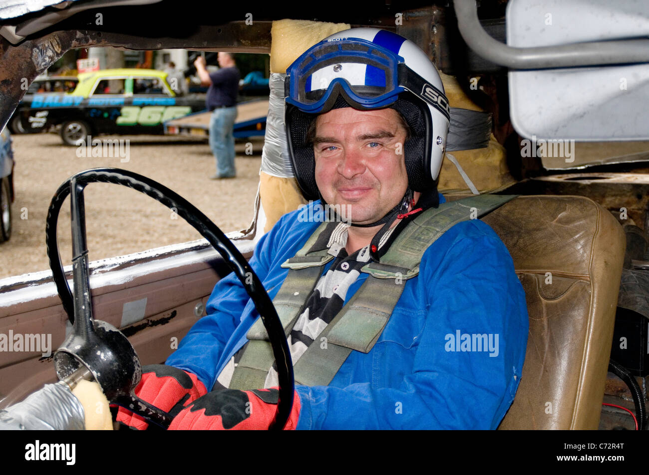 banger racing driver before a race - Stock Image