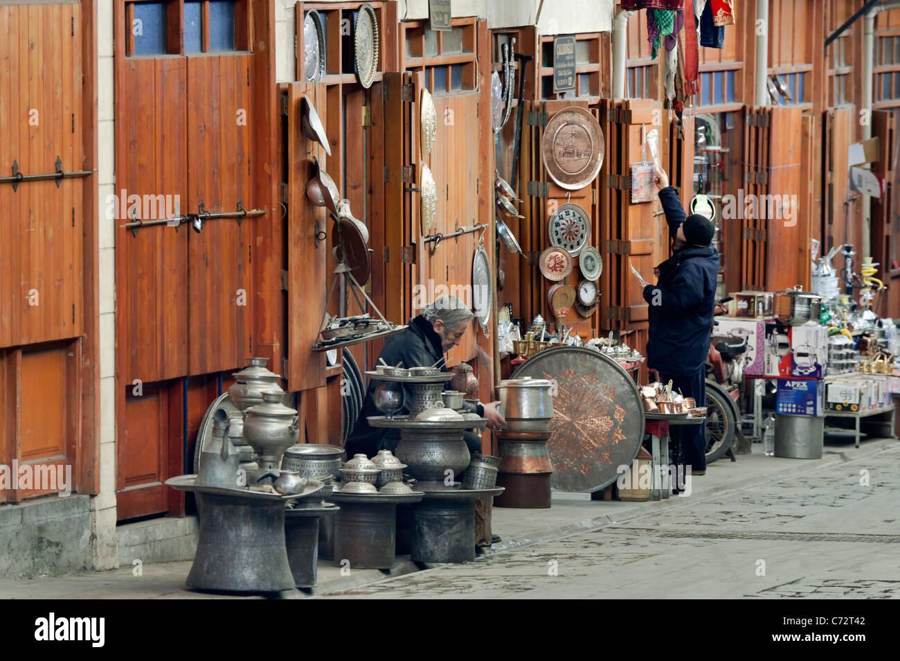 Bazaar with copper handcrafts Gaziantep Turkey - Stock Image
