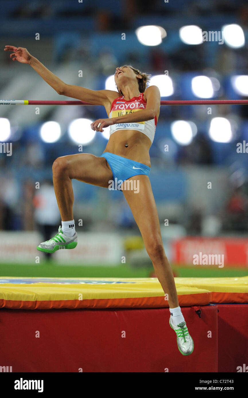 Blanka Vlasic (CRO) performs for  The 13th IAAF World Championships in Athletics, Women's 100m Hurdles. Stock Photo