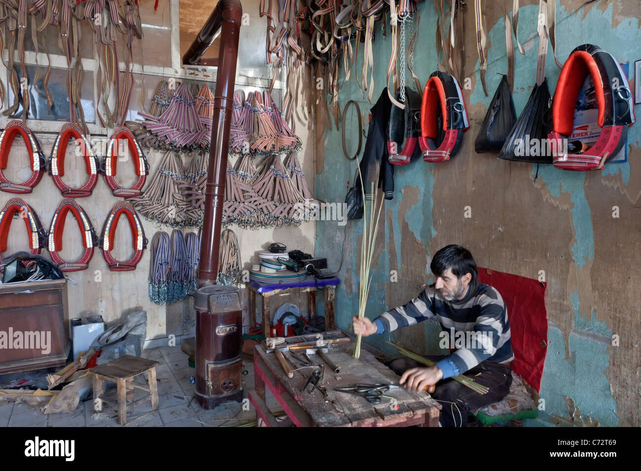 Collar maker in Gaziantep Bazaar Turkey - Stock Image
