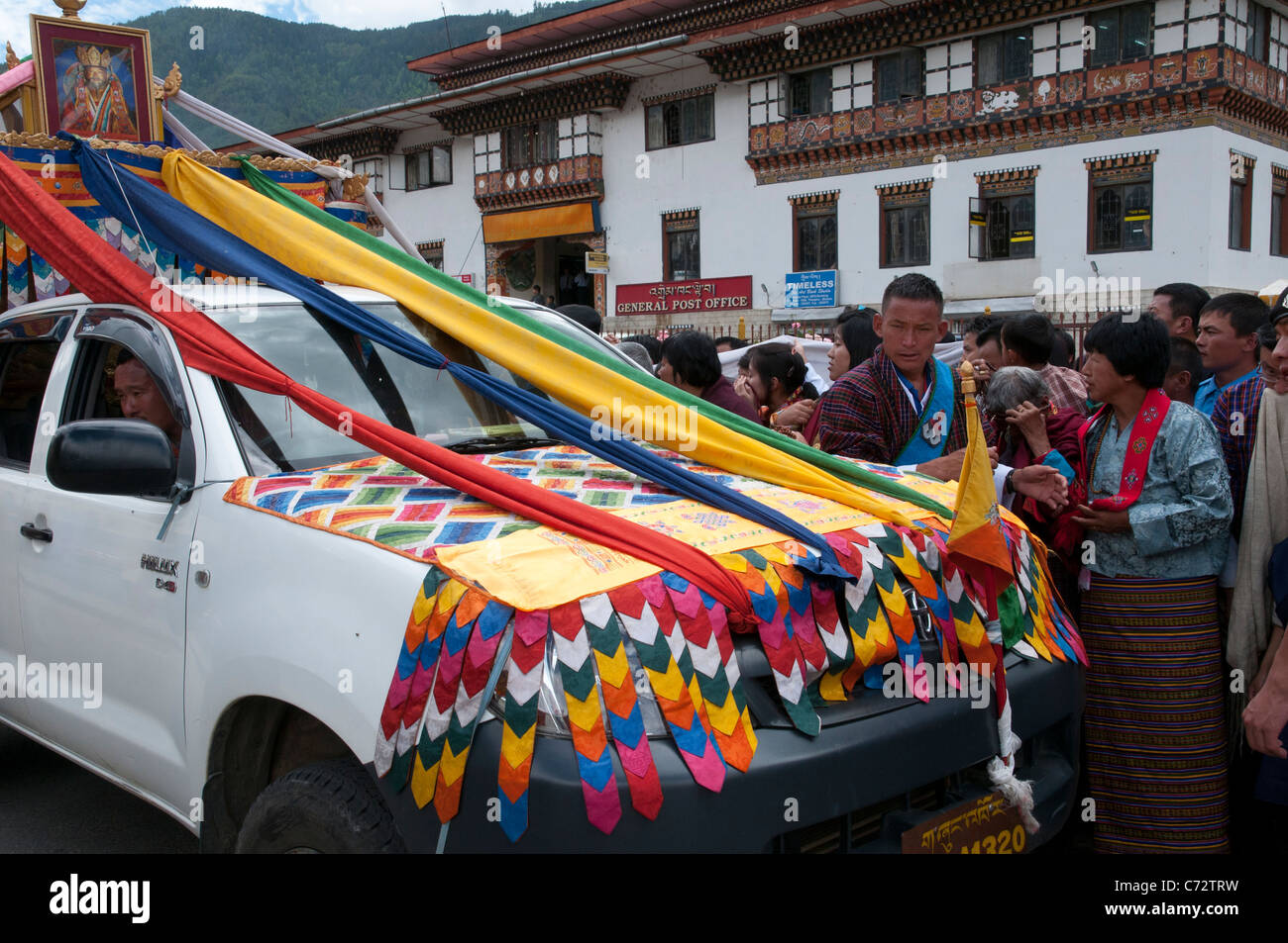 people waiting for the great Lama to pass by. Thimpu. Bhutan - Stock Image