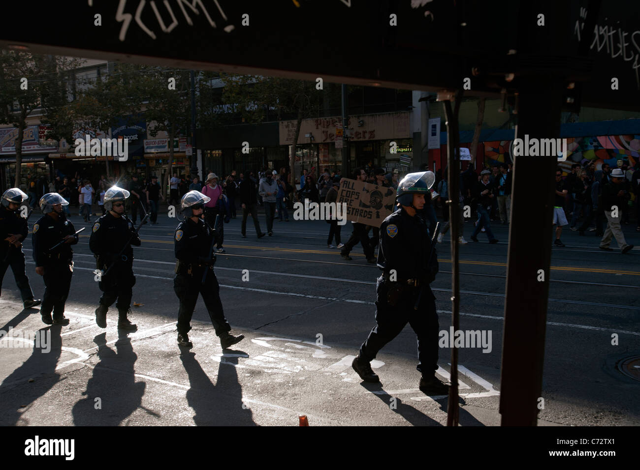riot police in san francisco - Stock Image