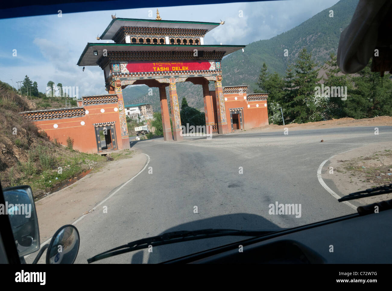 on the road to Phuentsholing from Thimpu. Bhutan - Stock Image