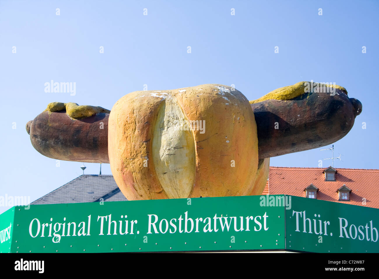 Advertising sculpture promoting Thueringer Rostbratwurst, barbecued sausages, Weimar, Thuringia, Germany, Europe - Stock Image