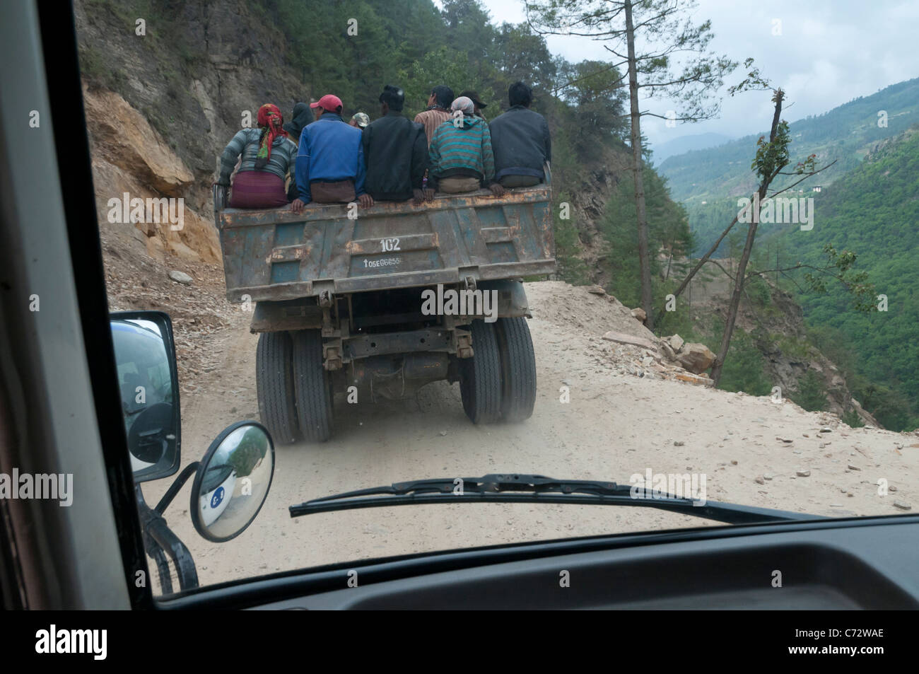on the road to Phuentsholing. Bhutan - Stock Image