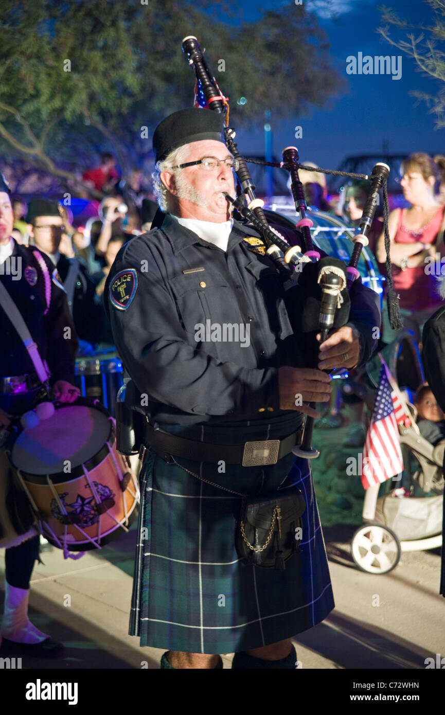 A bagpipe player at the September 11 Healing Field, Tempe, Arizona, USA - Stock Image