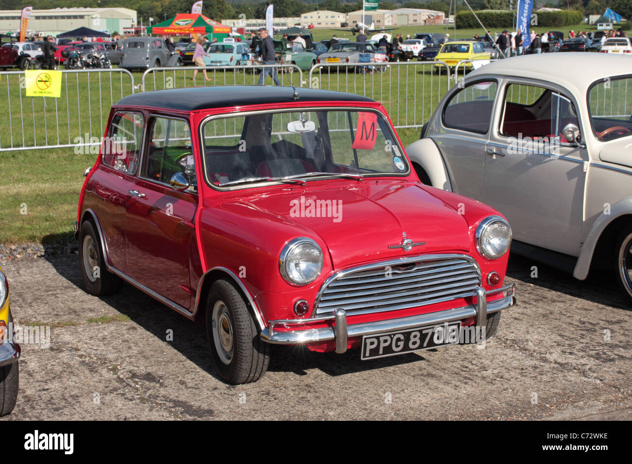 A 1969 MK1 Morris Mini Cooper S on display at the Wings and Wheels Show August 2011 Surrey UK - Stock Image