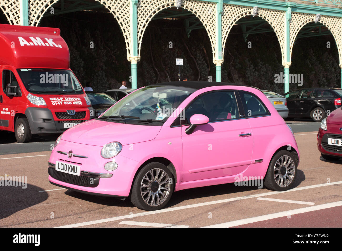Pink Fiat 500 Car Stock Photo Alamy
