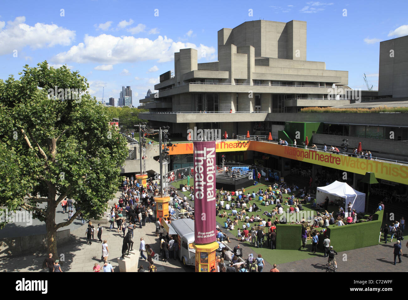 The National Theatre, South Bank, London UK - Stock Image