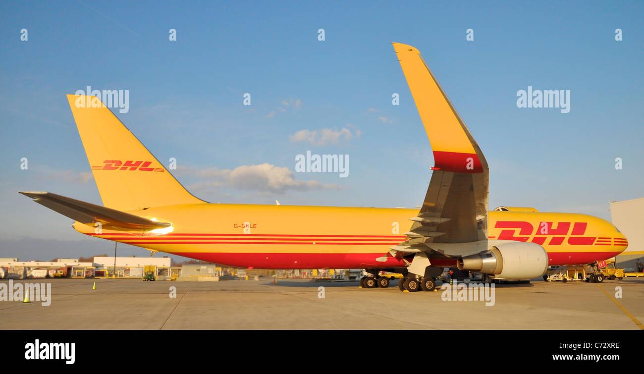 dhl boeing 767 300erf cargo aircraft registration g dhle parked on stock photo 38788274 alamy. Black Bedroom Furniture Sets. Home Design Ideas