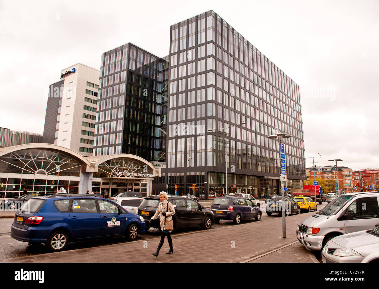 Stockholms new Waterfront Building and The Radison Blu Hotel both next door to the Stockholm Central railway station - Stock Image