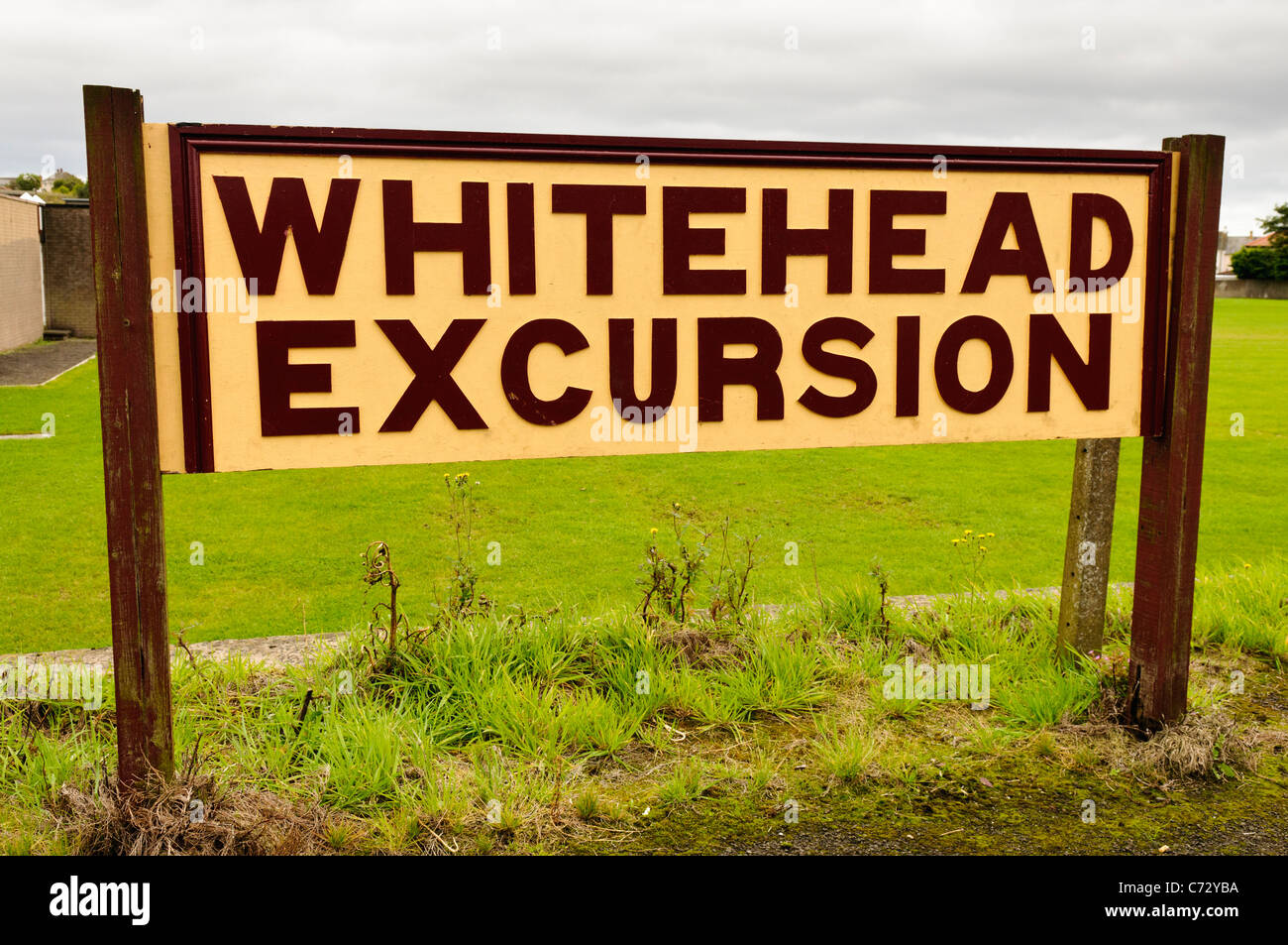 Whitehead Excursion sign at the Railway Preservation Society of Ireland - Stock Image