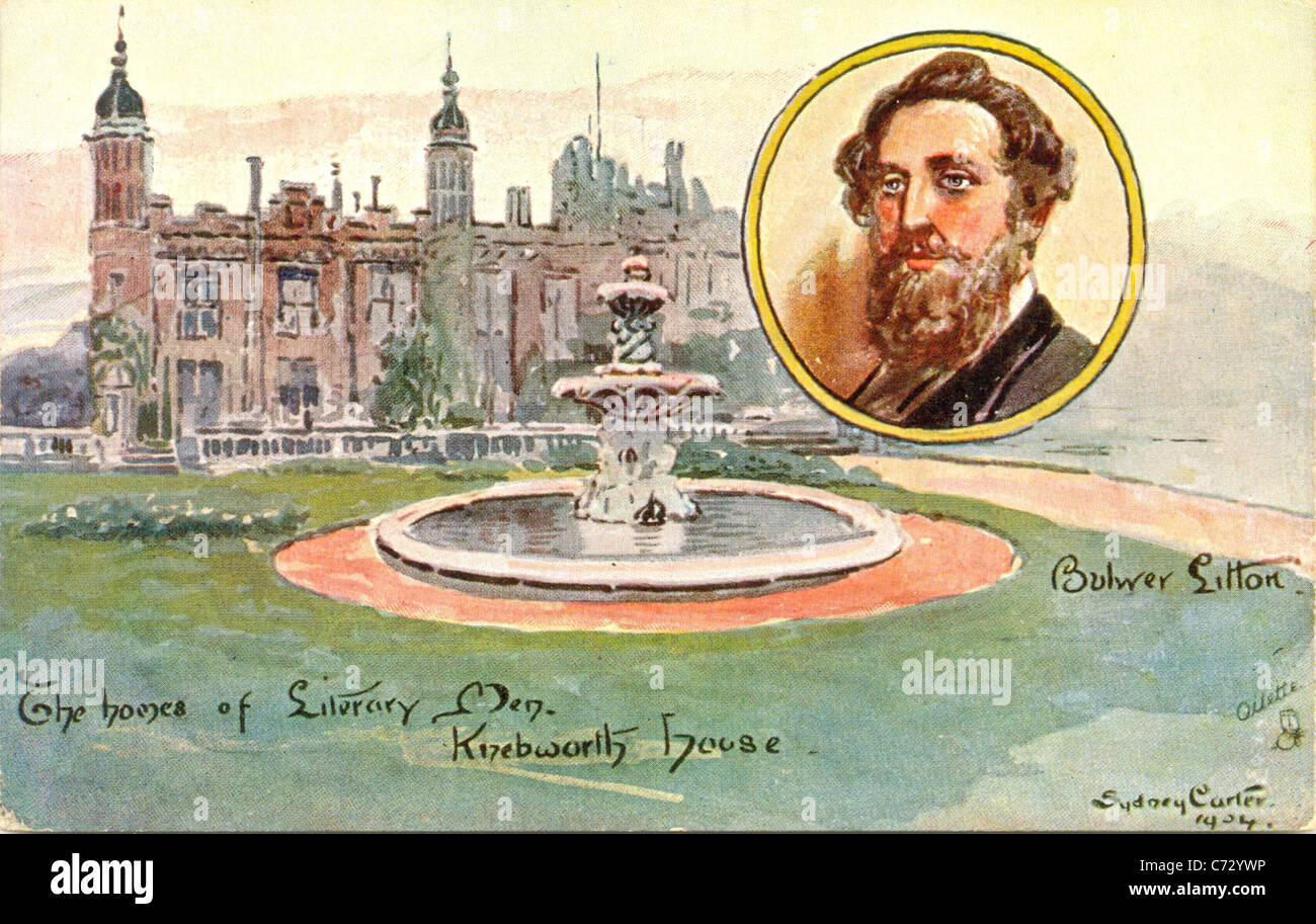 Picture postcard by artist Sydney Carter  of Bulwer Lytton in the series Homes of Literary Men Stock Photo